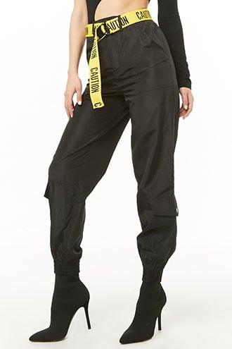 Forever21 Caution Cargo Wind Joggers