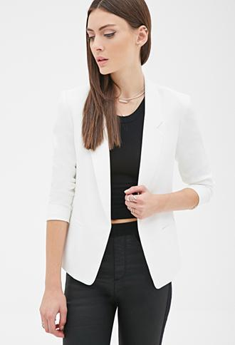 Forever21 Textured Open-front Blazer White Small