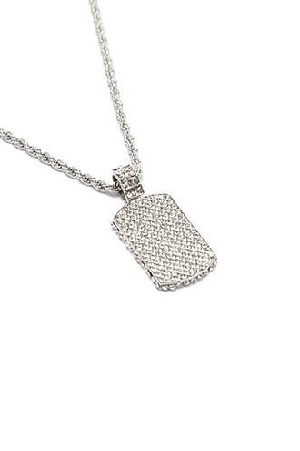 Forever21 Men American Exchange Cz Stone Dog Tag Necklace