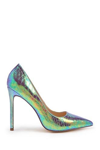 Forever21 Iridescent Pointed Toe Pumps
