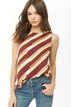 Forever21 Abstract Striped Chiffon Top