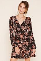 Love21 Women's  Black & Taupe Contemporary Floral Print Dress