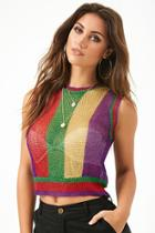 Forever21 Sheer Metallic Colorblock Top