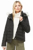 Forever21 Faux Fur-hood Quilted Jacket