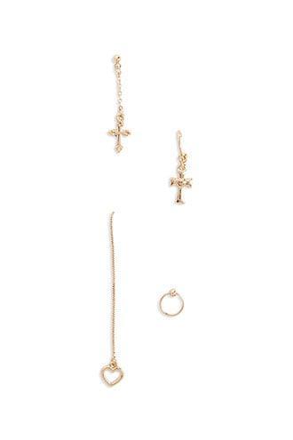 Forever21 Assorted Cross & Heart Earring Set