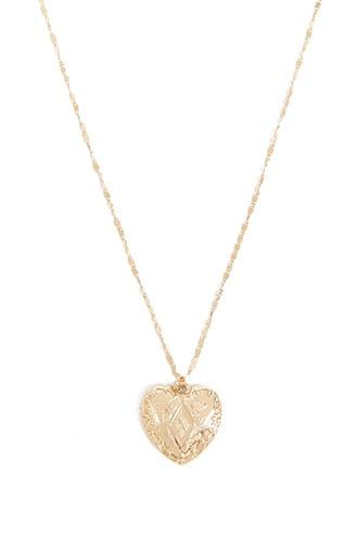 Forever21 Etched Heart Pendant Necklace