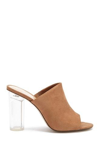 Forever21 Lucite Faux Suede Mules