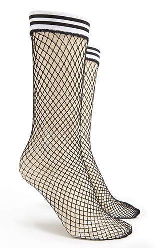 Forever21 Fishnet Striped Crew Socks