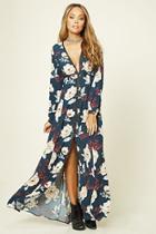 Forever21 Women's  Navy & Cream Floral V-neck Maxi Dress