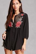 Forever21 Embroidered Crochet Tunic