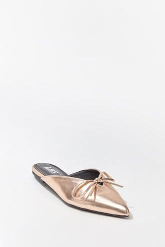 Forever21 Faux Leather Metallic Bow-front Mules