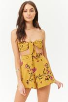 Forever21 Floral Print Bandeau & Shorts Set