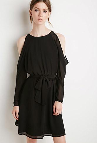 Love21 Open-shoulder Chiffon Dress