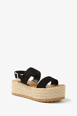 Forever21 Faux Suede Flatform Espadrille Sandals