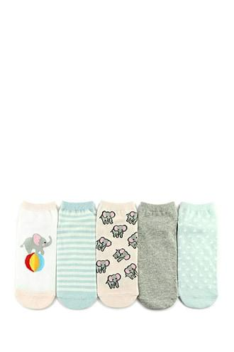 Forever21 Elephant Graphic Ankle Socks - 5 Pack