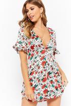 Forever21 Floral Polka Dot Shirt Dress