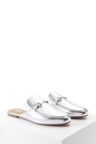 Forever21 Metallic Loafer Mules
