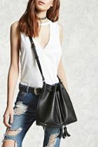 Forever21 Faux Leather Tassel Bucket Bag