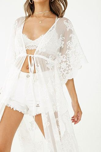 Forever21 Floral Embroidered Mesh Cardigan