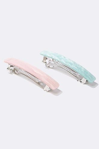 Forever21 Marble Hair Barrette Clip Set