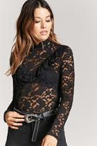 Forever21 Sheer Floral Lace Ruffle Top