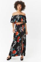 Forever21 M-slit Floral Maxi Skirt