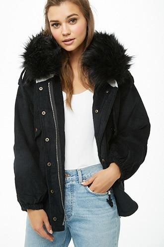 Forever21 Faux Fur Corduroy Jacket
