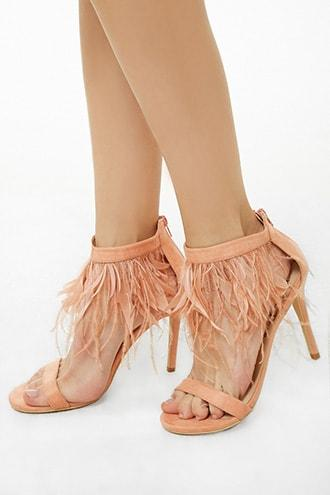 Forever21 Lemon Drop By Privileged Faux Feather Heels