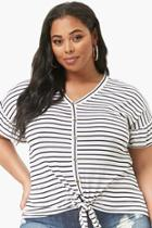 Forever21 Plus Size Striped Mock Button Top