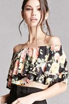 Forever21 Floral Flounce Crop Top