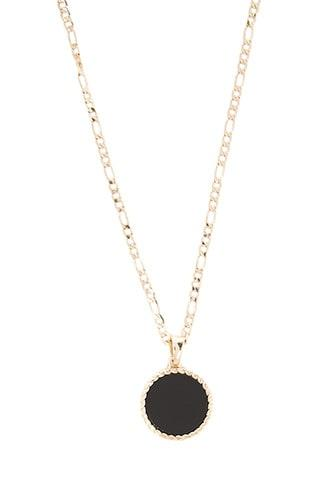 Forever21 Men Chained&able Onyx Figaro Medallion Necklace