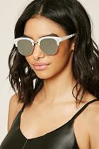 Forever21 Cream & Silver Browline Square Sunglasses