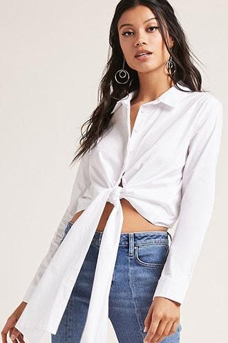 Forever21 Self-tie Button-down Shirt