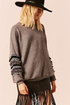 Forever21 Embroidered Sleeve Sweater