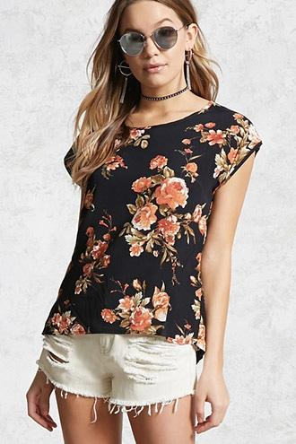 Forever21 Floral Print Crepe Top