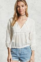 Forever21 Crochet Split Neck Top