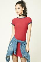 Forever21 Women's  Burgundy Ringer T-shirt Dress