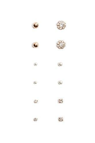 Forever21 Rhinestone & Faux Pearl Stud Earring Set