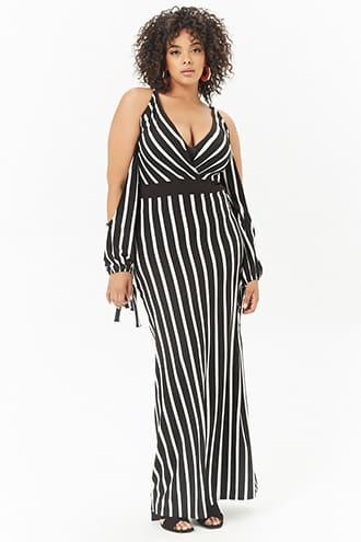 Forever21 Plus Size Striped Open-shoulder Maxi Dress