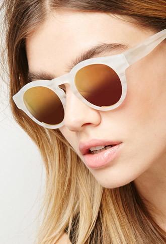 Forever21 Sicky Eyewear Matte Ivory Mirrored Sunglasses