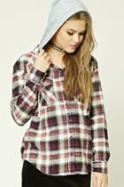 Forever21 Hooded Plaid Flannel Shirt