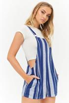 Forever21 Striped Linen-blend Overall Shorts