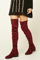 Forever21 Women's  Berry Faux Suede Over-the-knee Boots