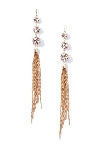 Forever21 Faux Gem Tassel Earrings