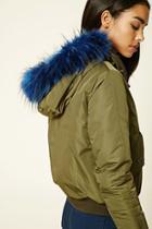 Forever21 Women's  Faux Fur-trimmed Bomber Jacket