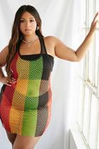 Forever21 Plus Size Colorblock Mesh Tank Dress