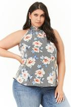 Forever21 Plus Size Floral Print Striped Top