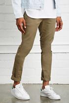 21 Men Men's  Olive Clean Wash Slim-fit Jeans