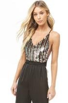 Forever21 Striped Sequin Cami Bodysuit
