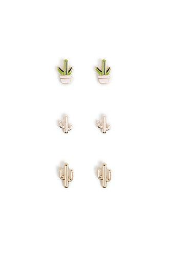 Forever21 Cactus Stud Earring Set